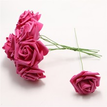 100pcs Wedding bride Bouquet Home Artificial Foam Rose Flowers with stem Craft Decoration Marry DIY Crimping hot pink flower
