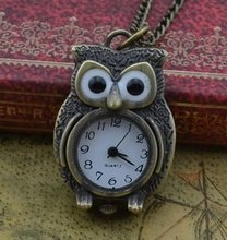 Wholesale Buyer Price Good Quality Fashion Lady Retro Woman New Bronze Standing Owl Pocket Watch Necklace With Chain
