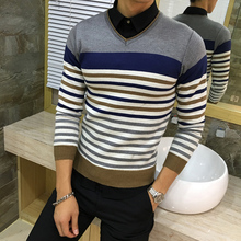 MCHAMCHI 2017 spring new mens sweater striped V- neck pullovers  Brand clothing Knitting fashion Designer Casual Man Knitwear