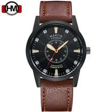Business Men Watch Waterproof Hannah Martin HM Clock leather Quartz Wrist watch Fashion Gift Hour With Assista box Formal male