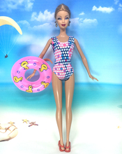 NK Doll Swimwear Beach Bathing Clothes Swimsuit+Slippers+Swimming Buoy Lifebelt Ring For Barbie Doll Best Girl' Gift 005L(China)