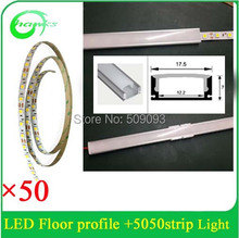 DHL/UPS/Fedex  fast shipping 50pcs/ lot x1M led aluminium profile with 5050 strip light for Home Cabinet Channel Lighting