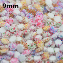 Free Shipping 9mm Fancy Colors Resin Flower Cabochons  Mixed Colors