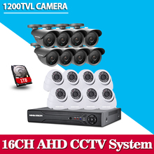 Home CCTV Security 16CH DVR Camera Video system 16pcs CCD 1200TVL Outdoor Weatherproof 3.6mm camera surveillance Kit 16 channel