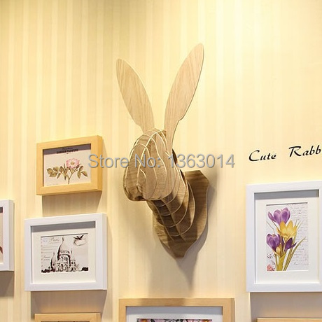 Cute Bunny wood animal head MDF wood wall decor self-build puzzle(China (Mainland))