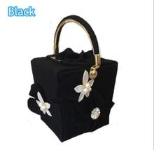 Women Woolen Bucket Bag Pearl Flower Totes Casual Ladies Fashion Chain Evening Floral Box Handbag(China)