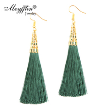 Fiber Long Tassel Dangle Earrings for Women Drop Brincos Boucle d'oreille Brush Earring Fashion Jewelry Pendientes Bijoux