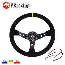 VR RACING - 14inch 350mm OMP Steering wheel Deep Corn Drifting Steering Wheel/Suede Leather Steering wheels VR-SW21