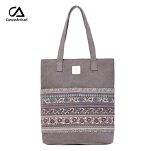 Canvasartisan Brand new canvas women handbags floral vintage female shopping shoulder bag zipper closure tote hand bags(China)