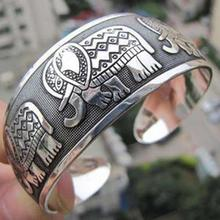 Fashion New Vintage Elephant Tibetan Tibet Silver Plated Bracelets Charming Elegant Round Metal Cuff Bangles Women Jewelry