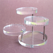 3 Step Riser Display Stand Multi Acrylic Swivel Circles, coin pendant ear rings rack pedestal jewelry accessories bracket holder