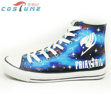 FAIRY TAIL Cosplay Natsu Logo Print Blue White Luminous Casual Canvas Shoes For Women Female Sport Shoe US EU Size