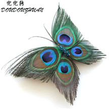 Alijimshop 2017 New Butterfly Peacock Feather Headband Crystal Bridal Wedding Hair Clip Pin Head Hairpin Hair Wear Accessories
