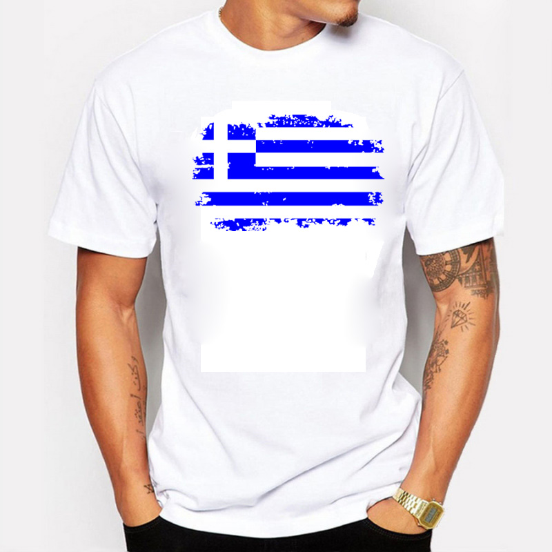 The Summer Greece Flag Men T shirts 100% Cotton Short Sleeve Fans Nostalgia Greece Flag Style T-shirts For Men(China (Mainland))