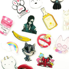 1 PCS Kawaii Badges on Backpack Pins for Clothes Cartoon Badges for Clothes Acrylic Badges Brooch Acrylic Icons(China)