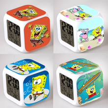 SpongeBob Lovely Hot Sale Alarm Clock Square LED Colorful Digital Night Light Electronic Clock American Movie Toys Small Gift #F