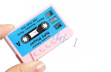 5 colors Cassette Tape Shape MP3 Music Player, max 1-8gb microSD(TF) Card,50pcs for free shipping