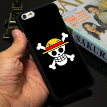 One Piece Straw Hat Pirate Flag Black Phone Case for iPhone 5S 5 SE 5C 4 4S 6 6S 7 Plus Cover ( Soft TPU / Hard Plastic )
