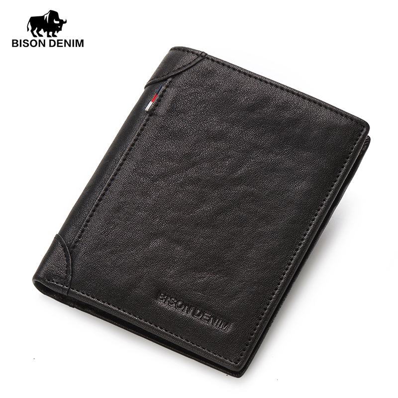 BISON DENIM fashion luxury genuine leather men wallets slim business male small pocket purse wallet card holder<br>