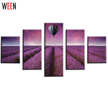 5 Panels Set Art Canvas Print Painting Artwork Beautiful Purple Lavender Original And Hot Air Balloon Wall Picture Unframed