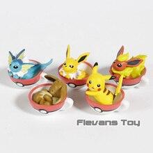 Anime Cartoon Pikachu Eevee Jolteon Vaporeon Flareon Mini PVC Figures Kids Toys Gifts 5pcs/set