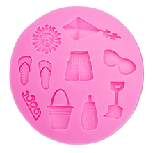 3D Hot Summer Beach Sun Kite Sea Wave Slipper glasses Shorts Silicone Mold DIY party cake Decorating Tools T0483(China)