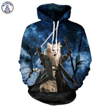 Mr.1991INC Meow Stars People Hot Sell 3d Sweatshirt Men/women Hooded Hoodies Print Cat Warrior Cap Sweatshirt Tracksuits(China)