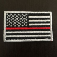 Tactical Flag Firefighter Thin Red Line Patches United States US USA Flag Patch Fire & Rescue EMT EMS Badges Hook and Loop BACK(China)