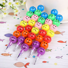 5 Pcs 7 Colors Practical Jokes Cute Stacker Swap Smile Face Crayons Children Drawing Gift Hot Selling(China)