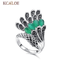 KCALOE Swan Ring Vintage Green Natural Opal Stone Jewelry Crystal Rhinestone Engagement Silver Color Cute Animal Anel Ring