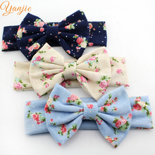 "12pcs/lot Trendy European Flower Printed 5"" Cotton Bow Elastic Headband New Arrival Kids Girl DIY Hair Acessories 2016 Headwrap(China)"