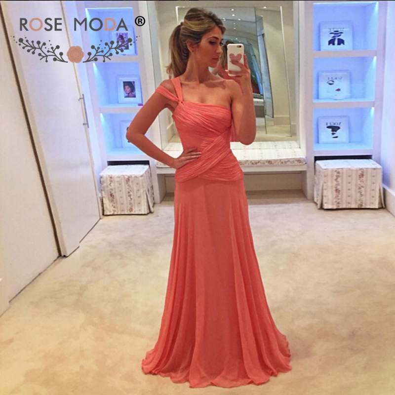 Rose Moda One Shoulder Floor Length Coral Chiffon Evening Dress Formal Wedding Party Dress 2019