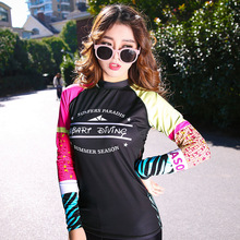 Women's UPF 50+ Long Sleeve Rashguard Swimwear Top T Shirt Dive Skin Black/Red