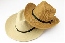 High Quality  Men Folding  Cowboy Straw hat  Summer Beach Sun Hat , 6PCS/LOT Free shipping