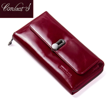 Contact's New Fashion Women Wallet Long Design Clutch Wallets Genuine Leather Female Wallet Zipper&Hasp Coin Purse High Quality(China)