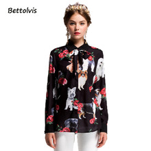 Bettolvis 2017 summer Women Blouses Long Sleeve Female Casual Loose Blusas Pet dog Print Turn-Down Collar Plus Size Shirts Tops(China)