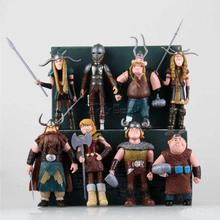 HOT Cartoon Movie How to Train Your Dragon Set of 8pcs Character Mini Action Figures PVC Doll Collectible Toys for Kids Boys