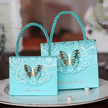 20pcs/lot Colorful Sweet Love Light Blue 3D Butterfly Wedding Handing Candy Box Beautiful Party Printed Flower Candy Gift Box(China)