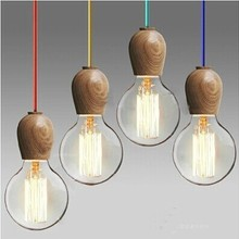 Vintage pendant light Oak Wood Retro lamp 120cm color wire E27/E26 socket wood lampholder Hanging light fixture.no light bulbs