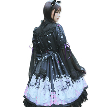 Autumn Japanese Cute Moe Swan Printed Bow String Chiffon Lolita Dress Female Kawaii Cascading Ruffle Lace Princess dresses V269