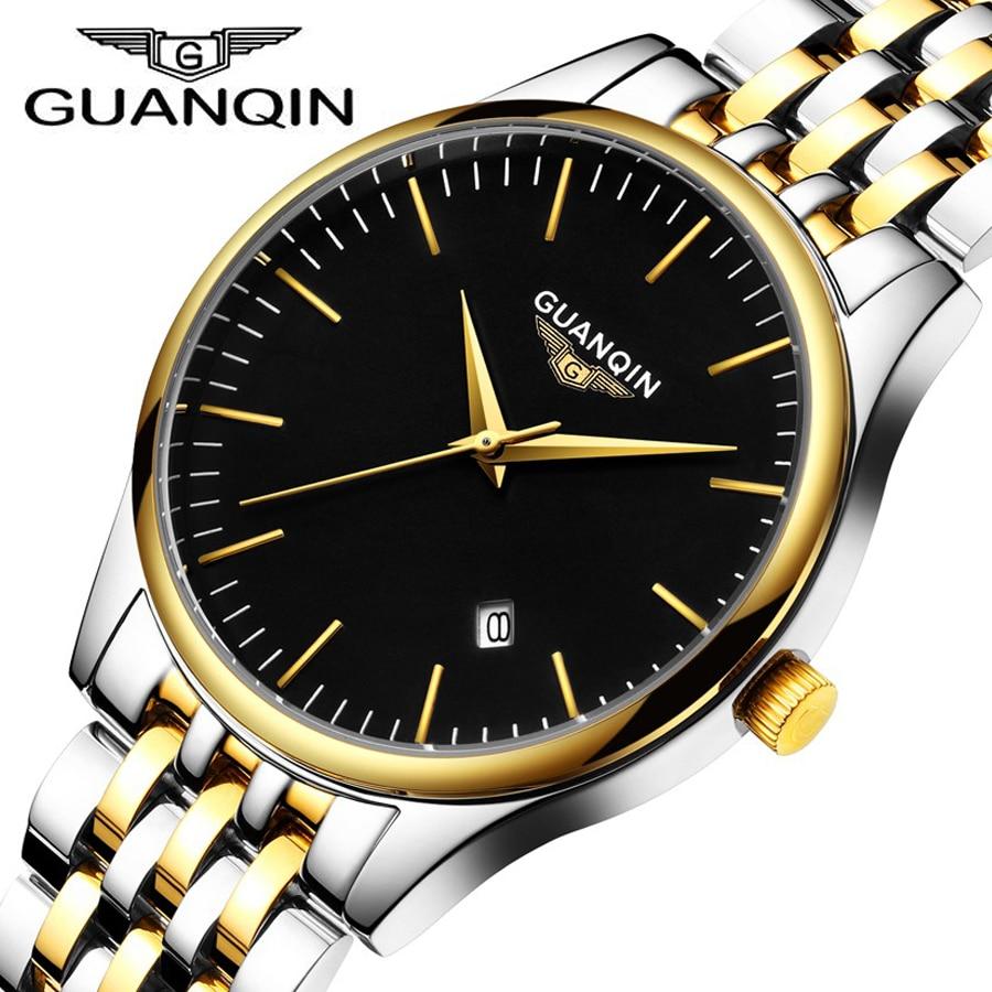 Mens Watches Top Brand Luxury GUANQIN Waterproof Quartz Watch Men Analog Date Clock Men Full Steel Wrist Watch relojes hombre<br>