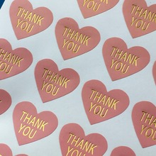 "Pink Heart-shaped Stickers 300PCS/Lot 3.2*2.8cm Thermoprinting Gold""Thank You"" Sticker Labels For Card/Jewelry/Box/Bake/Bag/Gift"