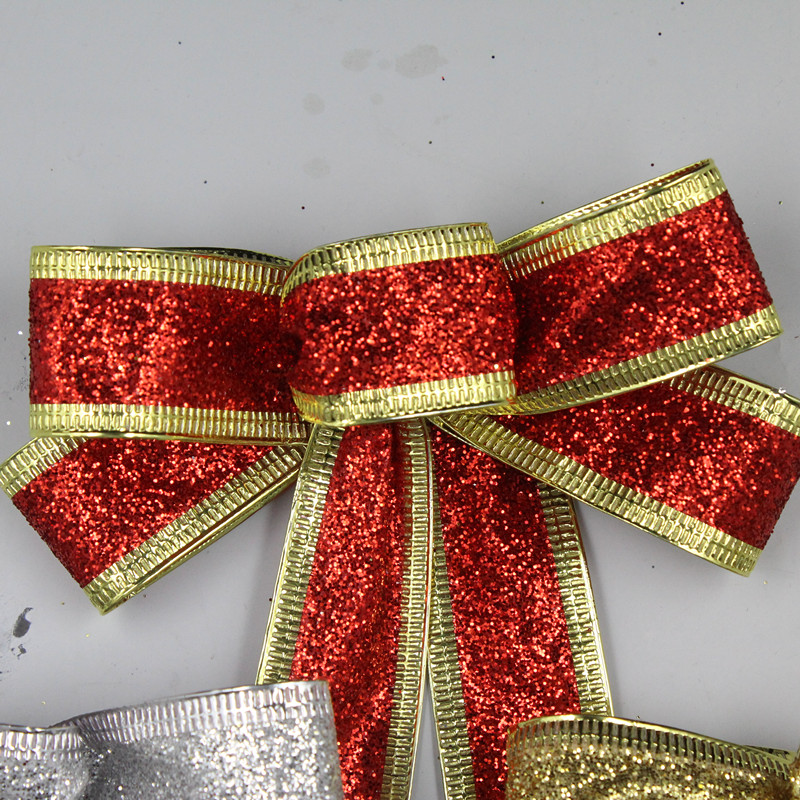 15cm Red Silver Gold Sparkling Glitter Christmas Bow Decoration Tree Wired Ribbon Ornaments In Bows From Home