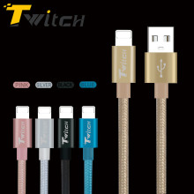 Twitch Ultra Durable Nylon Braided Wire Metal Plug Data Sync Charging Data Phone USB Cable for iPhone 7 6 6s Plus 5s 5 iPad Air