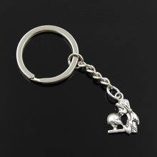 new fashion men 30mm keychain DIY metal holder chain vintage fortune teller crystal ball 20*15mm antique silver pendant(China)