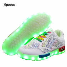7ipupas LED Luminous sneakers Leather Casual Boys Girls breathable Sneakers Glowing Shoes Low price USB Charging kids Led shoes(China)