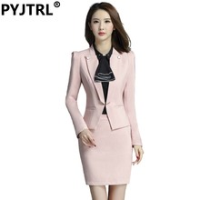 PYJTRL Brand Two Piece Set Pink Office Uniform Designs Women Elegant Fashion Skirt Formal Suits Ladies Business Outfits Suit(China)