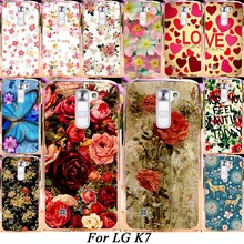 Silicone Plastic Mobile Phone Case For LG K7 LTE Tribute 5 LS675 Q7 LTE MS330 5'' Dual SIM M1 Cover Colorful Flower Rose Shell