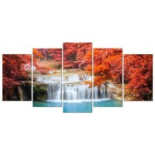 Red Forest Waterfall Modern 5 Panels Stretched No Framed Artwork Canvas Prints Woods Pictures Paintings on Canvas Wall Art