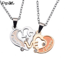 Fashion Metal Chain Men Pendant Necklace I Love U Letter Double Heart Couple Necklace Jewelry Lovers And Couple Romantic Gift